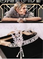 Movie star models gorgeous crystal rhinestones pearl tassels hair band women hair accessories