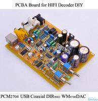 PCBA Board HIFI Decoder PCM2704 USB Decoding DIR9001 WM8740DAC Replace PC Sound Card  Power Adapter HIFI Audio DIY Free Shipping