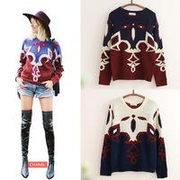bohemian  long-sleeved women asymmetrical sweater  long warm sweater with neck women pullover sweater