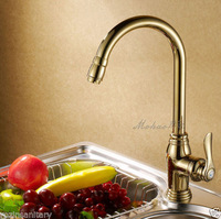 Free Shipping Wholesale And Retail Gold-plate Cold and Hot Water Kitchen Faucets Deck Mounted Bathroom Kitchen Sink Faucet