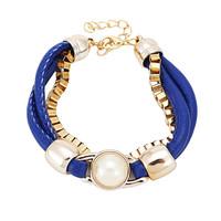 Blue Personalized Multilayer Acrylic Leather Bracelets Adjustable