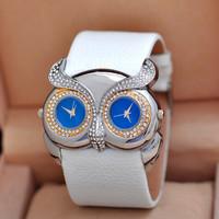 2014 Fashion OWL Women Rhinestone Watches! Luxury OWL Dress Watch PU Leather Women Student Girl Gift Watches Waterproof