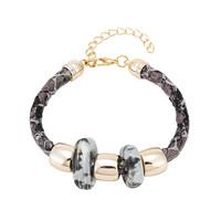 Personalized Snake Chain Leather Bracelets Adjustable