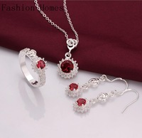 S693 Promtion gift 2015 fashion vintage 925 silver plated jewelry sets,silver women zircon jewelry sets rings necklaces earrings