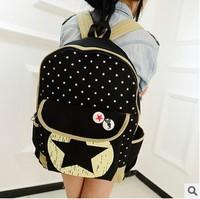 Fresh five-star car suture student bag Men Canvas Backpacks Travel Hiking Bags Cartoon Cat Ear Shoulder Bag Backpack Schoolbag