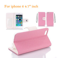 New Arrival I6 Hybrid PU Leather Wallet Case Candy Color Strap Flip Stand Case With Photo Card Slots Holder For iPhone 6 4.7""