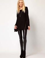 2014 Fashion Solid Mid-Long O-Neck Pullover Women Inclined Zipper Design Hoodies XS-XXL WE489