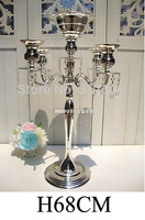 8Pcs/Lot, Fedex/TNT Free Ship, H68cm & 5 Heads Crystal Candelabra, Candle Holder, wedding Centerpiece