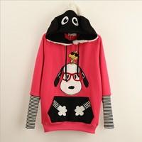 [Magic] red glasses cartoon Dog patch pocket women's cotton hoodies with hoody winter fleece warm casual sweatshirt 3 colors