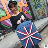The splicing pattern of the national flag 2014 New Women Bag Backpack Schoolbag Men Canvas Backpacks Cartoon Cat Ear Shoulder