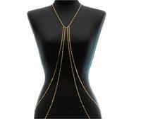 Rhinestone Gold Body Chain Long Necklace Fashion Statement Jewelry BJN909558