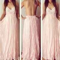2014 Free shipping Fashion sexy  pink color floor-length v-neck lace dress . Party dress