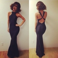 2014 Free shipping Fashion sexy  cut out back cross bodycon dress . Party dress