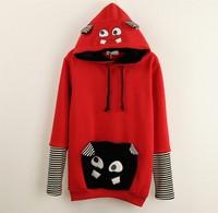 [Magic] cartoon printed hoody hoodies 2014 hot wind patch cartoon pocket winter fleece warm well women's cotton sweatshirt