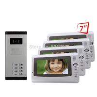 """Video Doorphone intercom Outdoor panel with 7"""" Door Monitors for 4 Apartments Video Door Phone"""