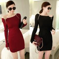 New Women Autumn and Winter Double Zipper Collar Slim Thin Long Nnit Dress