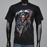 4M277 3D reap print 100% cotton Fashion man's t shirt brand man T-Shirts round boy  neck t shirt black color