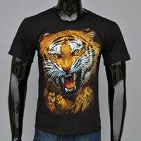 4M205 100% cotton black color 3d tiger print T Shirt Hip Hop Roll Tshirt  billionaire boys club T-shirts Quality