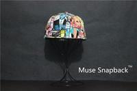 Muse 100% leather  fashion hip-hop style  skateboy snapback  Made in korea geometric print