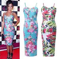 Hot sale Floral Pencil Midi Long sleeveless Bodycon Summer dress Print Dress Beach Dress Spaghetti Strap Vitage Style b14
