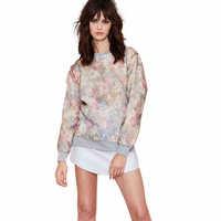 European And American Retro Print Chiffon Cover Sweatshirt 2014 Women Fashion O-Neck Pullover Hoodies WE998