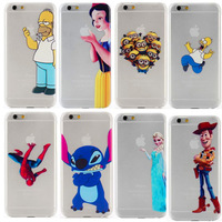 2014 TOP Fashion Transparent Grind Arenaceous Hard Back Cover For IPhone 6 Case Snow White Simpsons Design Iphone6 Phone Cases