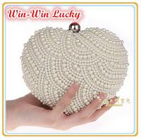Free Shipping 2014 New Women Vintage Pearl Evening Bag. Heart Shaped Hand-beaded Wedding Bridal Handbag Clutch. Shoulder Bag