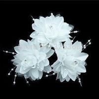 60x White Flower Wedding Bridal Flower Rhinestone Hair Pins U-shape Hair Sticks Hair Clips Free Ship