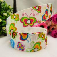 1493177,22mm Color Butterfly Series Printed grosgrain ribbon, DIY handmade materials,headwear accessories, wedding gift wrap