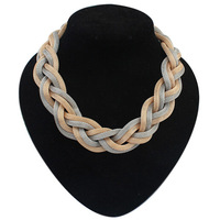 Europe Bohemia Style Punk Fashion Metal Braid Twist Chain Gold and Silver Collar Necklace For Women Jewelry Free Shipping#110028