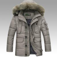 2014 New Men'S Winter Coat Long Down Jacket Fashion Brand Battlefield Outdoor Leisure Warm Fur Collar Hooded Down Jacket XXXL PP