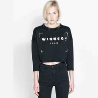 Winner Crew Letters Printed 2014 Fashion Short Pullover Hoodies Women O-Neck Three Quarter Sweatshirts WE184