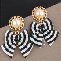 South Korea retro black and white stripes exaggerated fashion pearl bow earrings big ear pendants female temperament women