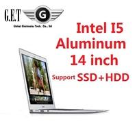 14inch  Aluminium ultrabook slim gaming Laptop computer notebook Intel I5  SSD + HDD HDMI LED Webcam