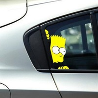 Free Shipping 2xSIMPSONS Peeking Sticker Vinyl  Funny Sticker  For All Car Toyota BMW Volkswagen Ford Buick Porsche Polo Opel
