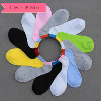 1 Lot=10pairs Candy Color Sock Slippers Casual Hit Color Pattern 10 Colors Cotton Boneless Suture Breathable Absorbent Socks