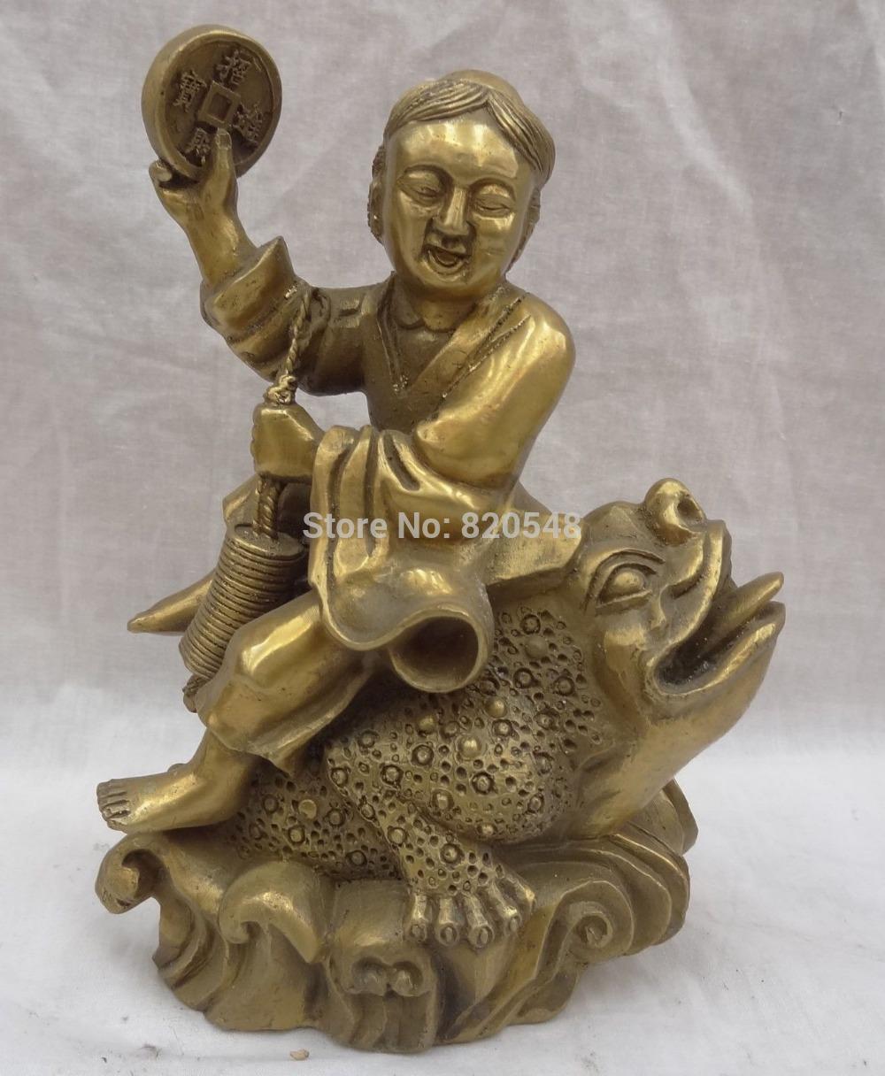 China Brass Wealth Coin Sculpture Kid Child LiHai Ride Gilt Hoptoad Toad Statue(China (Mainland))