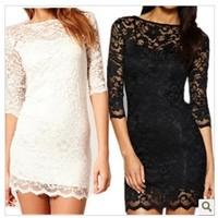 Brand new plus size women clothing Bodycon peplum flower lace dress slash o-neck sexy evening mini dress black R91