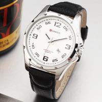 2014 New Curren Men Classic Number Index Auto Date Casual Analog Quartz Watch Genuine Leather Band Wristwatch Masculino Relogio