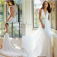 Free Shipping Latest White/Ivory Sexy V neck Wedding Dresses with Beads