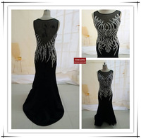 new arrive wholesale real sample pictures custom hand-made sequin crystal beaded fishtail evening dress