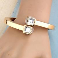 European and American retro square head inlay crystal Rhinestone Bangles female Korean fashion Korean jewelry accessories