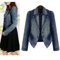 2014 plus size women coat fat mm thin elastic denim jacket long-sleeved winter jacket women casacos femininos