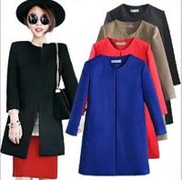 Women Wool Coat Fashion Elegant Slim Cardigan Worsted Woollen Coat Color Black Blue Red Khaki Size S M L XL Free Shipping R924