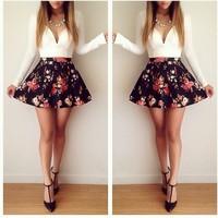 2014 AliExpress women autumn casual dress long-sleeved low-cut printing evening mini dress