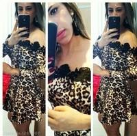 2014 autumn dress Hot Sexy party dress Slim Leopard stitching lace collar evening dress vestido de festa vestido de festa