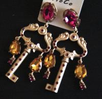 European and American Key pendant earring fashion personality Crystal Rhinestone Long earrings