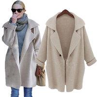 2014 New GOOD! Free Shipping Casual Cardigan Fashion Sweater Plus Size Beige Coffee Gray Coat