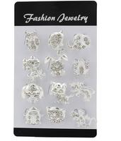 Fashion 12PCS/Set Women's fashion silver brooch women's mix styles frog/fish/cat pendant personality cheap brooch wholesale