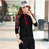 2014 Korean Sports Leisure Suit Sweater Fashion Women Large Size M-XXXL Hoodies printed Sweatshirt+pants Free Shipping